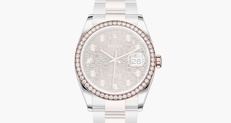 Oyster, 36 mm, acier Oystersteel, or Everose et diamants