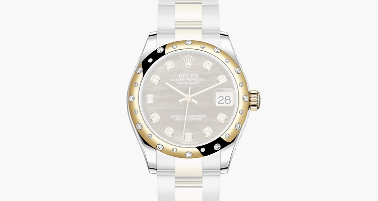 Oyster, 31 mm, acier Oystersteel, or jaune et diamants