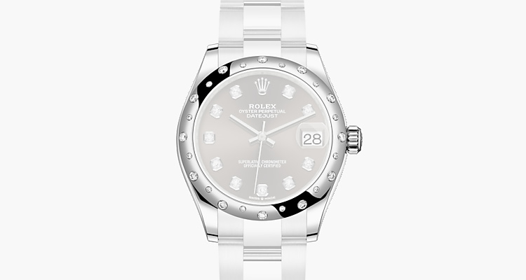 Oyster, 31 mm, Oystersteel, white gold and diamonds