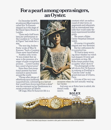 Lady Datejust The first Rolex Testimonee in the arts